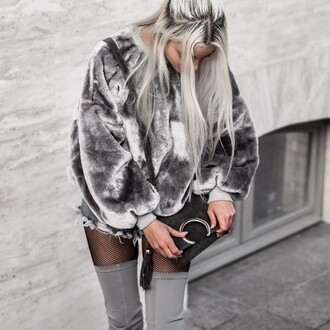 jacket sweatshirt grey sweater sweater grey velvet punk edgy oversized sweater oversized fashion style warm cozy long sleeves winter outfits casual
