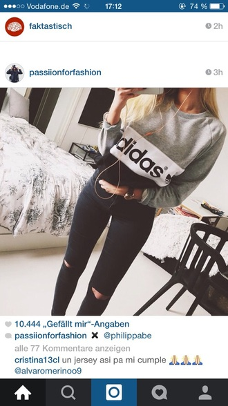 sweater adidas adidas sweater black and white black sweater white sweater
