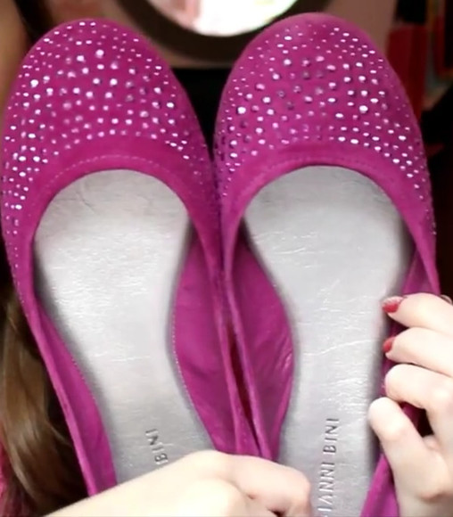 shoes pink purple giannibinni flats rhinestones