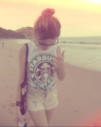 t-shirt starbucks coffee tank top coffe top outfit girl fashion women shorts shirt high waisted