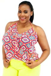 top,halter top,tank top,summer top,aztec,pink,coral,plus size,plus size shirt,spaghetti strap