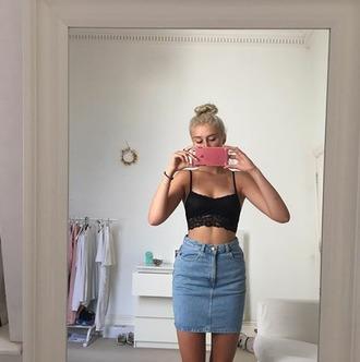skirt jeans denim denim skirt crop tops bra top