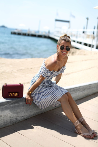 b a r t a b a c blogger dress shoes bag jewels sunglasses summer outfits off the shoulder dress striped dress red bag sandals