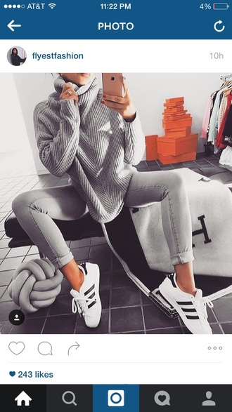 sweater grey fall outfits winter sweater all grey everything adidas skinny jeans outfit all grey outfit