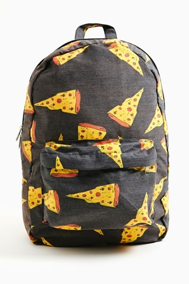 bag pizza color brand wtf lovepizza pizzalovers food new original school bag bags cute adorable backpack bookbag satchel perfect yellow orange black backpack school zipper pizza, bag, cool, best, clothes, sweater, black dope