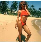 swimwear,teyana taylor,one piece swimsuit,sexy bikini,red swimwear,orange,beach,orange swimwear