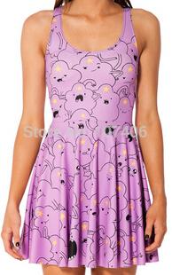 New 2014 dresses for women cartoon dresses novelty vestidos adventure time lumpy space princess reversible skater dress punk