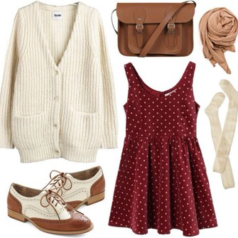 burgundy red scarf bag dress red dress oversized cardigan knee high socks fall outfits polka dots underwear leather bag preppy oxfords scarf red