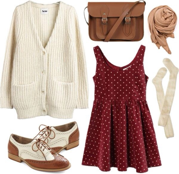 red dress polka dots dress red bag scarf underwear burgundy knee high socks leather bag fall outfits oversized cardigan preppy oxfords shoes brown and white