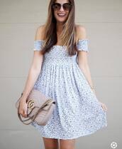 dress,tumblr,floral,floral dress,mini dress,off the shoulder,off the shoulder dress,bag,nude bag,sunglasses,shoes