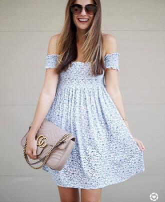 dress tumblr floral floral dress mini dress off the shoulder off the shoulder dress bag nude bag sunglasses shoes