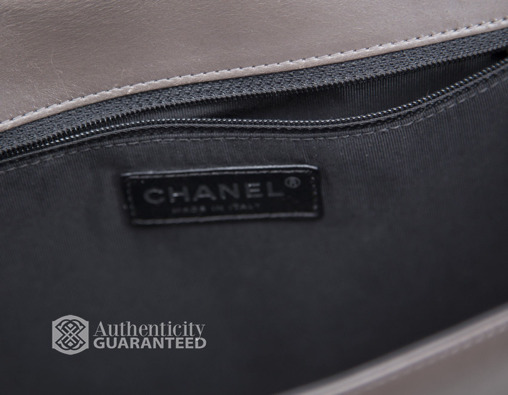 Chanel - Grey Black Calfskin Large Boy Flap