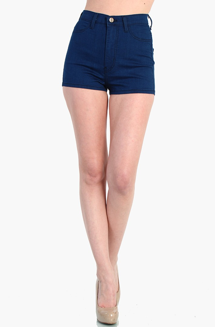 Waist Dark Blue Shorts Jean - Navy