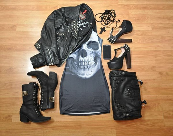 skull rock punk shoes jewels jacket dress bag leather bag studs