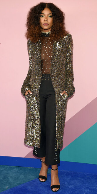 pants top coat gabrielle union sandals sequins cfda