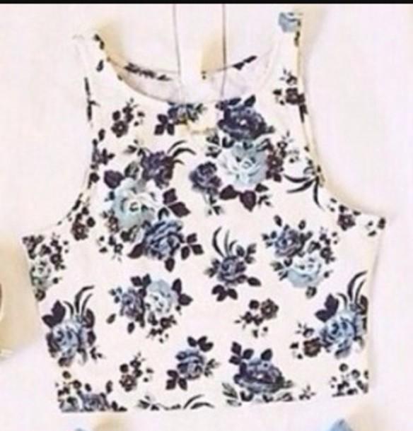 top crop tops floral pattern design blue white