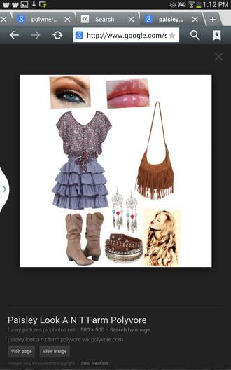 blouse frilly skirt tan boots dreamcatcher earings bag bracelets