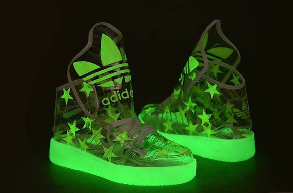 boys girls shoes adidas see through transparent shoes glow in the dark high top sneaker hi tops