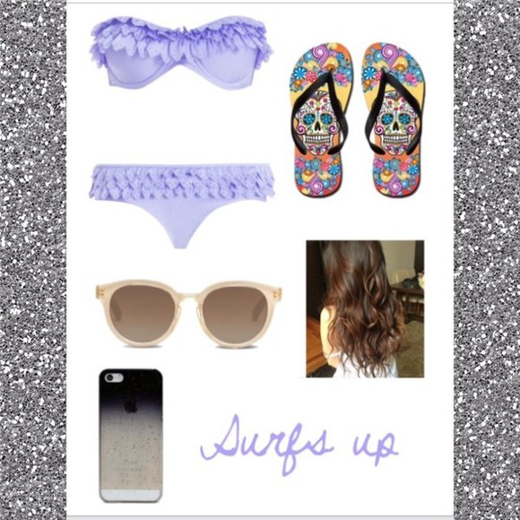purple swimwear shoes vintage toms flip-flops summer dress beach surfboard iphone cover sunglasses l.a. style pool