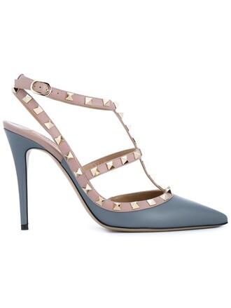 metal women pumps leather blue shoes
