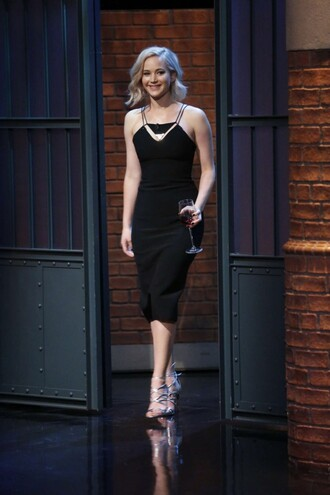dress bodycon dress midi dress black dress jennifer lawrence sandals shoes