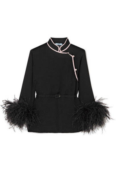 Prada top black silk