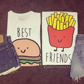 t-shirt burger and fries top best friends top bff tumblr bestfriend shirt lookbook cool trendy quote on it neon pastel style girl girly food food shirt best friends burger and fries