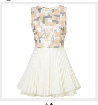 dress silver pink cream skater dress pleated skirt backless dress sequins sequin dress