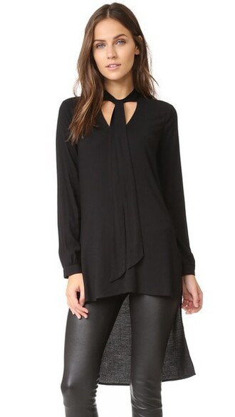 blouse high high low black top