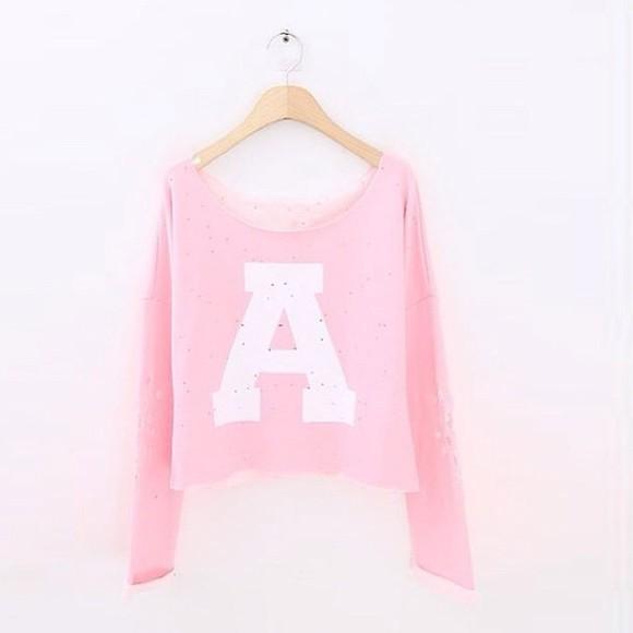 cute sweaters sweater pastel pink pastel shirt letters letter letters/numbers sweater/sweatshirt fluffy fluffy sweater