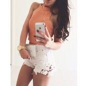 shorts,denim,denim shorts,white shorts,white denim shorts,white lace shorts,white,lace,blouse,top,tank top,shirt,orange,orange tank top,crop tops