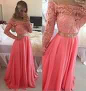 dress,long sleeves,long sleeve evening dress,formal women dress,jacket,pink dress,lace dress,gold belt,prom,pink,lace,mesh,long,sleeve,2016 runway evening dresses,yousef aljasmi celebrity evening dresses,long sleeve prom dress,illusion neckline prom dresses,prom dress,prom gown,lace prom dress,off shoulder prom dress,long sleeves prom dress