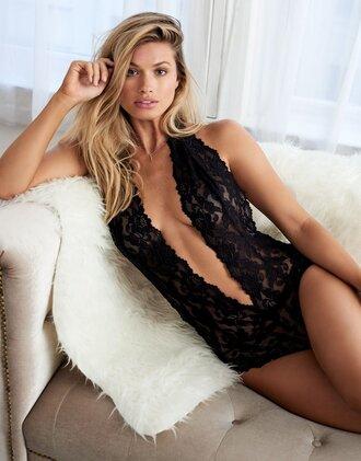 underwear lingerie black v neck bodysuit bodysuit lace bodysuit girly deep v