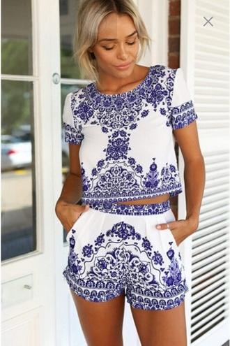 top blue white blouse romber jumpsuit shorts