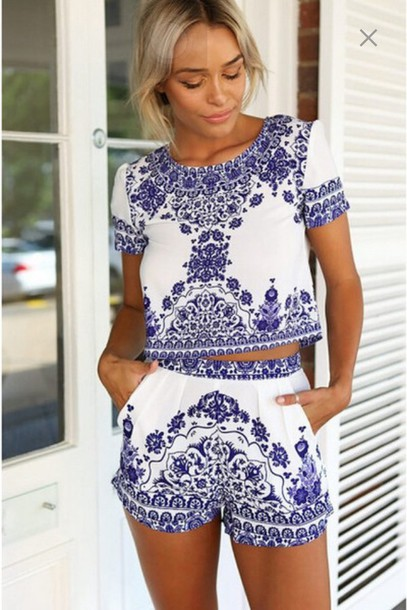 jumpsuit summer shorts blue dress romper blue floral two piece set white top cute white blue short shirt native american matching set blue and white blouse china