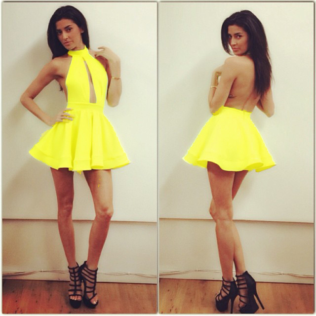 Cute yellow fashion dress yellow