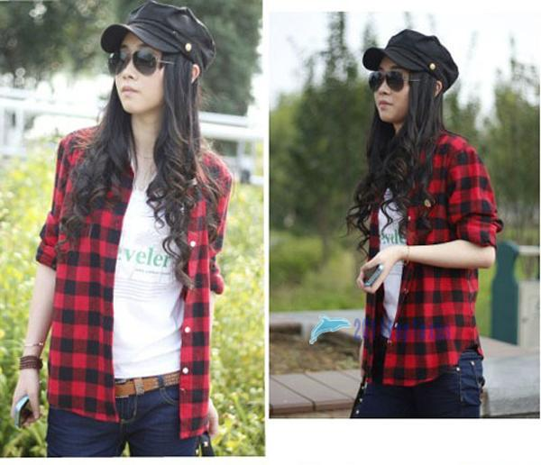 2013 Women Button Down Lapel Shirt Plaids Checks Flannel Shirts Tops Blouse TL | eBay