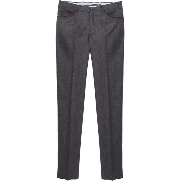 Men's Pal Zileri Subtle Check Wool Trousers - Polyvore