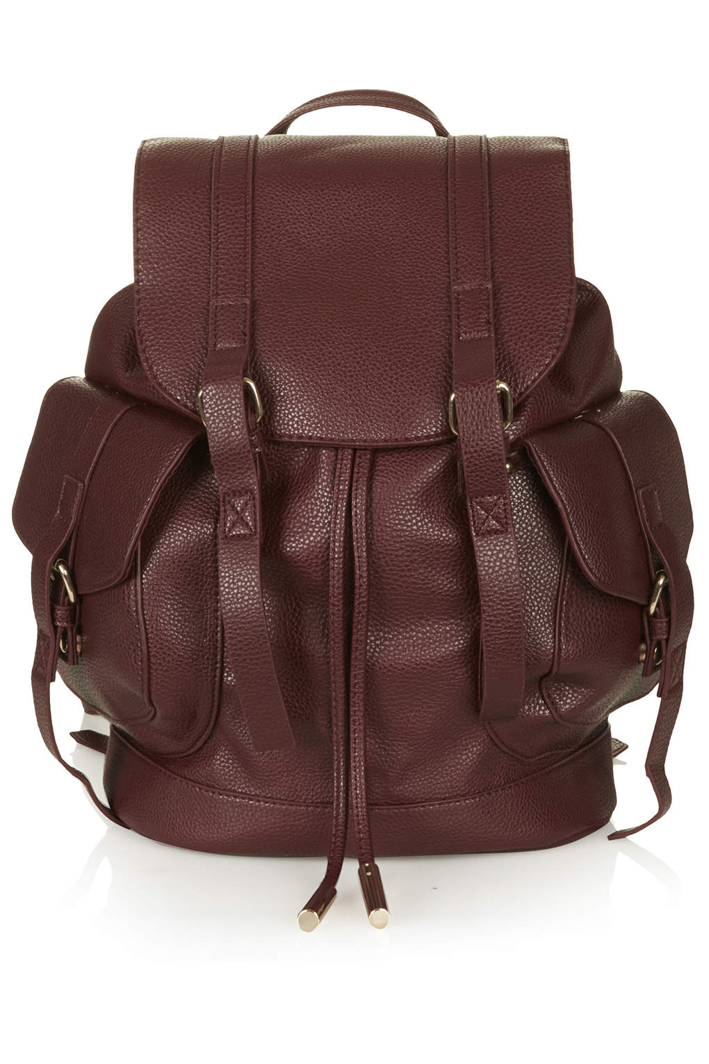 Grainy faux leather pocket backpack