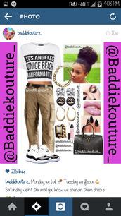 t-shirt,los angeles,venice beach,california,1977,cargo pants,khaki,outfit,outfit idea,baddiekouture_,jewels,bag