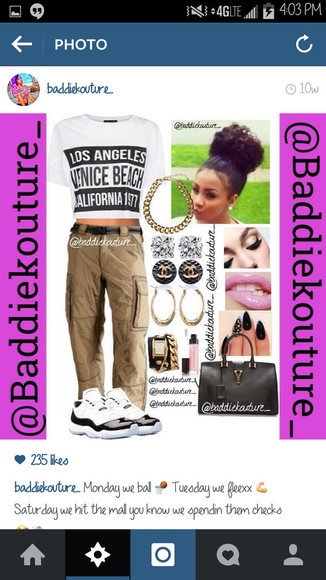 jewels outfit bag khaki t-shirt los angeles venice beach california 1977 cargos outfit idea blaaaze baddiekouture_