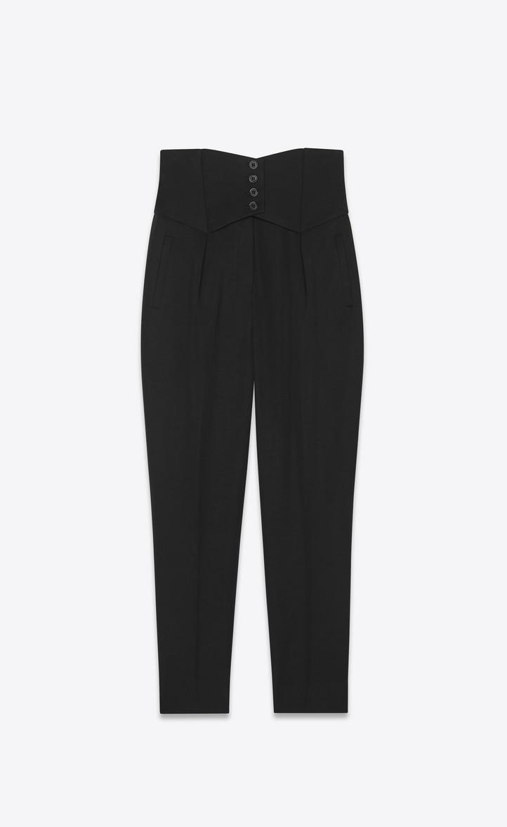 Pants with a button waist in Saint Laurent grain de poudre