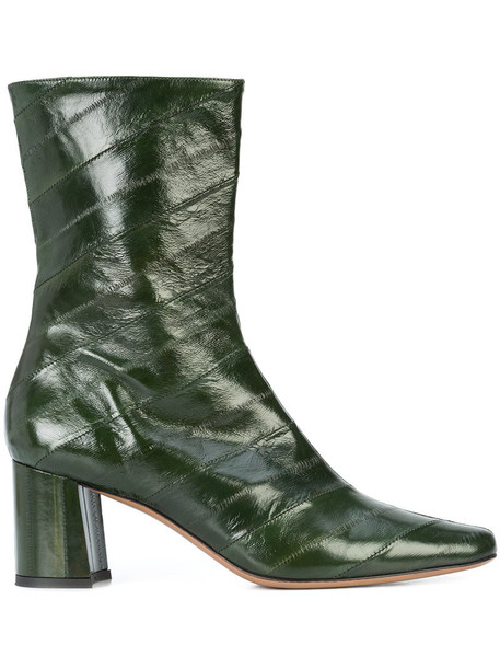 Trademark high women boots ankle boots leather green shoes