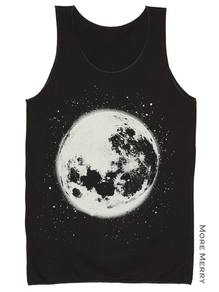 stars space planets moon black tank top space tank top