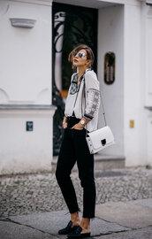 blouse,embroidered,black jeans,tumblr,jeans,denim,mules,bag,sunglasses