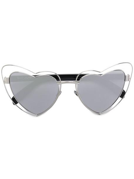 Saint Laurent Eyewear heart metal women sunglasses grey metallic