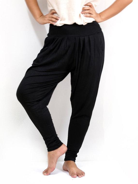 Skinny leg harem trousers, dancing yoga pants, comfortable and stretchy.