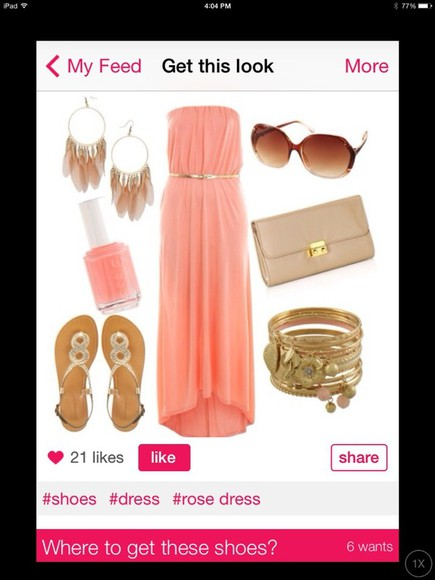 dress coral coral dress sandals nail polish sunglasses purse accessories jewelry