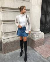 skirt,denim skirt,mini skirt,black boots,over the knee boots,white turtleneck top,cardigan,black bag