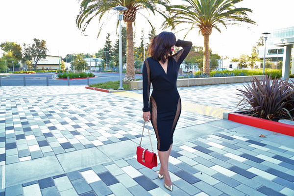 ktr style blogger bag little black dress cut-out polka dots see through stilettos